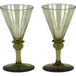 Hand Blown Wine Glasses Pair Of Circa 1820 English Hand Blown Amber Wine Glasses
