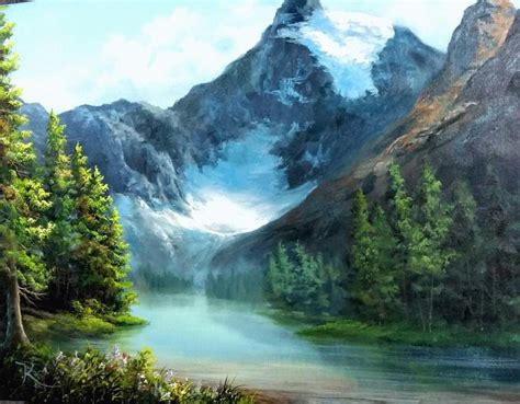 bob ross paints in canada take a vacation to the canadian glacier for more