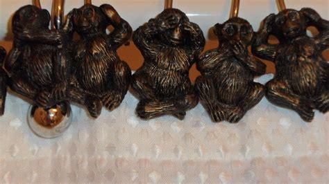monkey shower curtain hooks shower curtain hooks with resin monkey figures home garden
