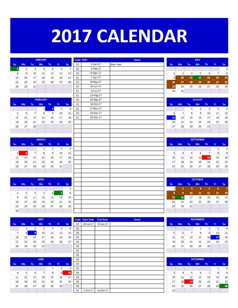 Calendar 2017 Excel Nz 2017 And 2018 Calendars Excel Templates