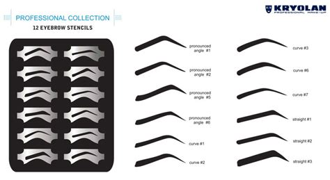 eye brow templates kryolan eyebrow design stencil set