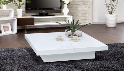 Table basse carree slate laquee blanc   Table basse   Topkoo