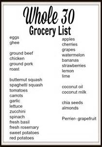 Whole 30 grocery shopping and meal planning
