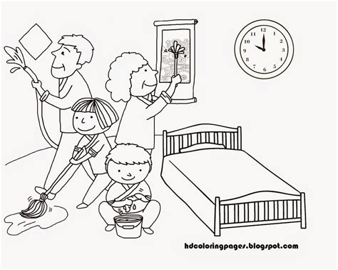 Clean House Coloring Page | free coloring pages of clean up