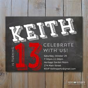 teen boy s birthday invitation chalkboard design for