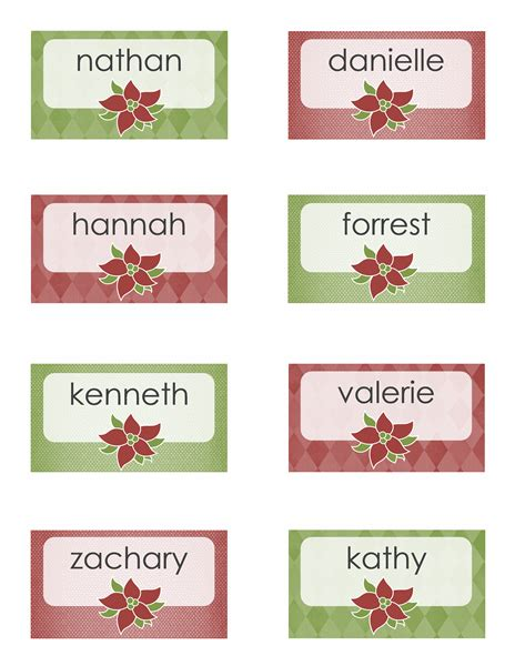 template for place cards 8 per sheet place cards poinsettia design 8 per page