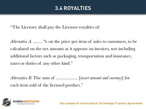 International Technology Transfer Agreement Contract Product Royalty Agreement Template