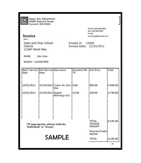 tuition bill template education invoice templates 11 free word excel pdf