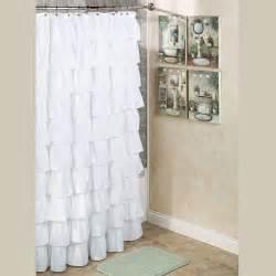 White bathroom curtain white toilet white bathtub white sink with