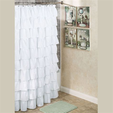 Bathroom Curtains Maribella White Ruffled Shower Curtain