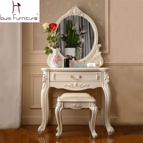 France Style Elegant Bedroom Furniture Ivory Dressing Mirror Style Bedroom Furniture