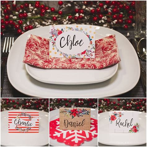 printable name tags for table settings christmas table place cards free printable six clever