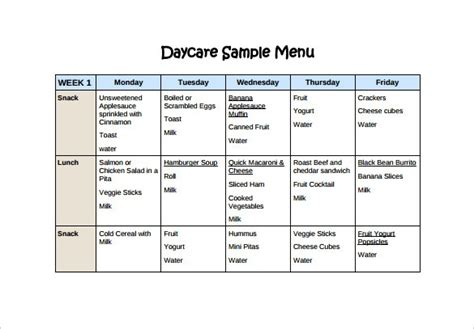 Weekly Menu Template For Daycare World Of Printable And Chart Free Menu Template Docs