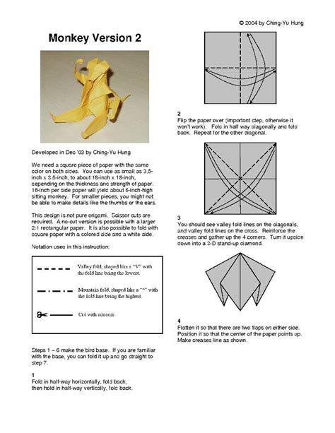 How To Make An Origami Monkey - origami monkey v2 by cy hung