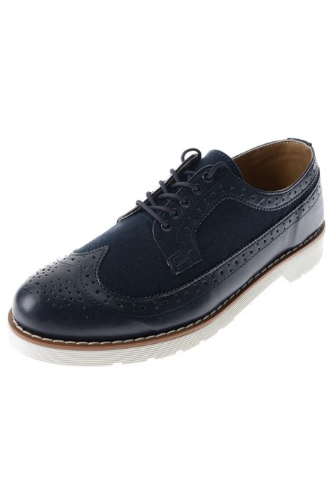 navy blue oxford shoes korean mens navy blue synthetic leather wingtip lace up
