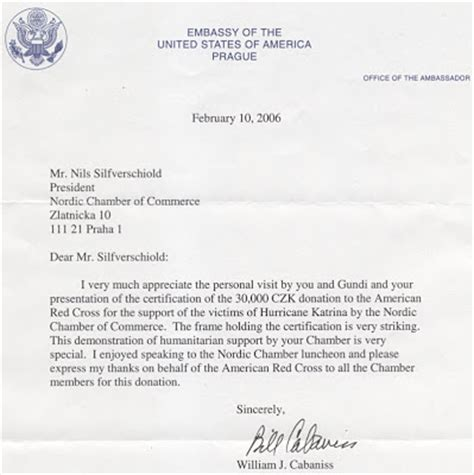 Embassy Letterhead Matt S Professional Communication Us Embassy Thank You Letter