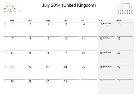 July 2014 Calendar July 2014 Calendar Luffenham