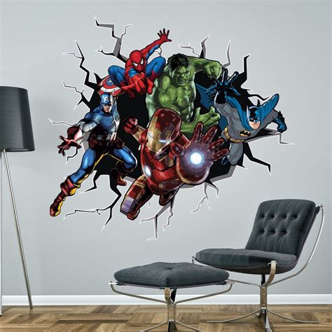 batman wallpaper ebay superhero batman hulk spiderman ironman marvel wall