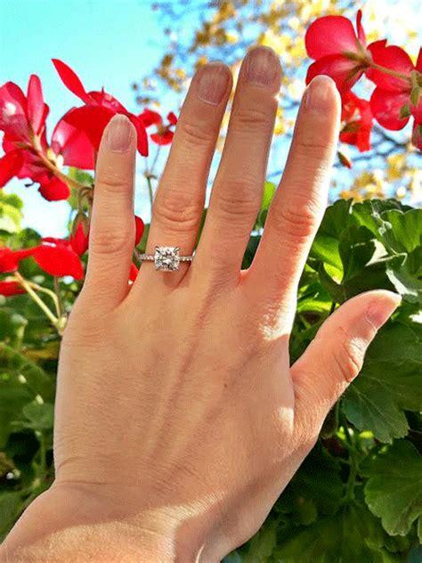 engagement rings cushion cut 2 carat real engagement rings moissanite weddingbee