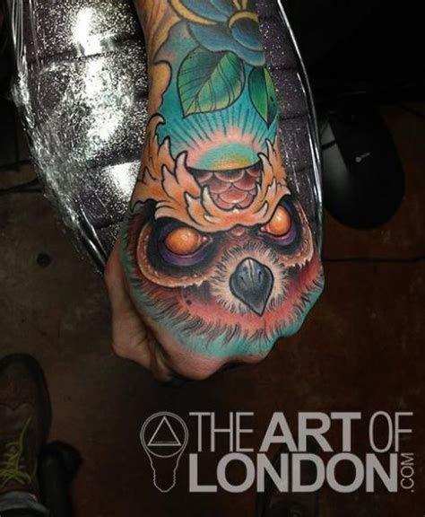 evil owl tattoo back of and third eye wolf tattoos by