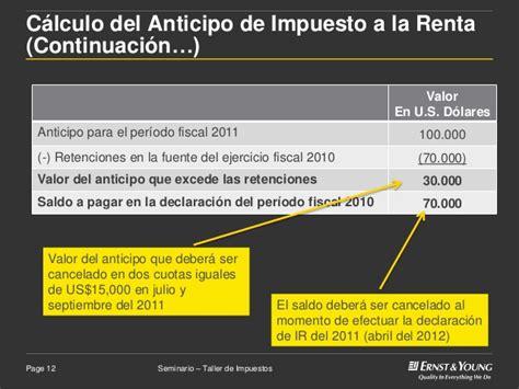 clculo del anticipo del impuesto a la renta curso 1 anticipo del impuesto a la renta