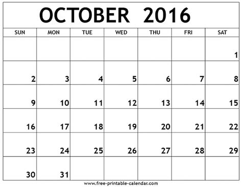october calendar template printable calendar 2018 free october 2016 printable