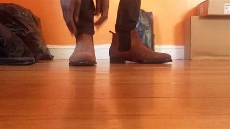 zara brown suede chelsea boot on