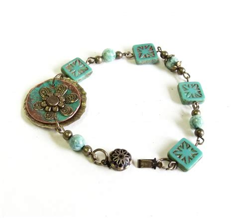 fossil beaded bracelet mint green picasso glass beaded bracelet with mint