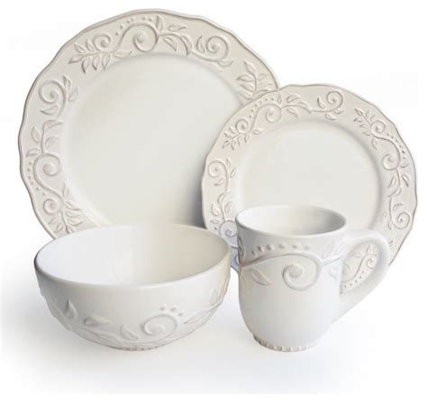 modern dinnerware sets marselle white leafy 16 stoneware dinnerware set