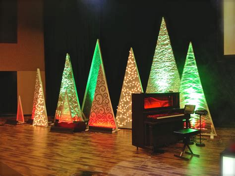 christmas stage decorations tree variety church stage design ideas