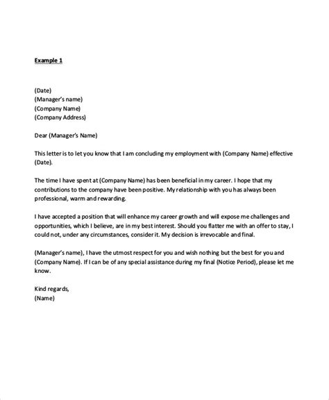 sle manager resignation letter exles in pdf word