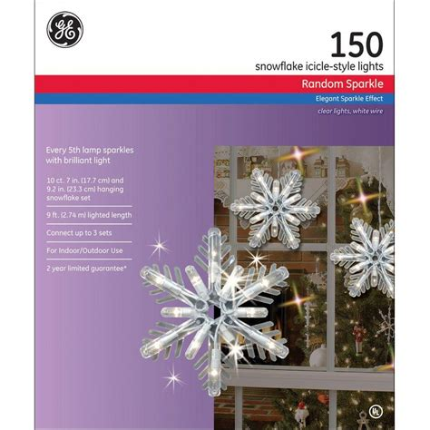 ge 150 light random sparkle snowflake icicle lights high