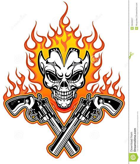 skull with guns stock vector image of criminal pistol