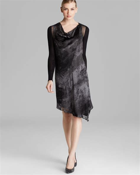 asymmetric drape dress lyst dkny asymmetric drape neck dress in gray