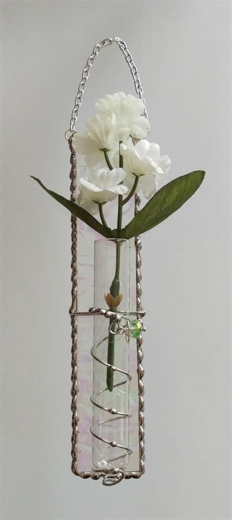 Hanging Bud Vase by Stained Glass Hanging Bud Vase