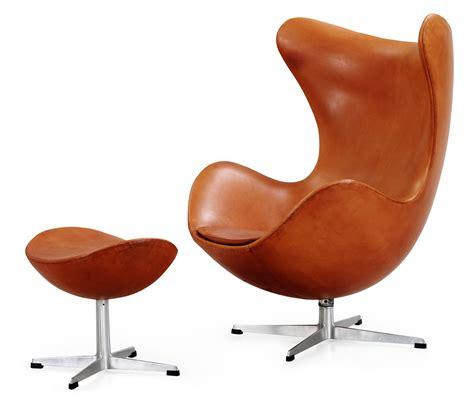 An arne jacobsen brown leather egg chair and ottoman fritz hansen denmark 1963 bukowskis