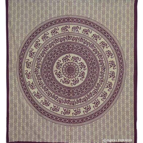 maroon indian elephant mandala hippie tapestry wall