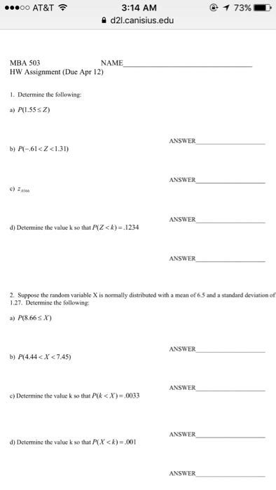 Mba Application Answer Question Answer Using I D Don T Doesn T by Solved 3 14 Am Oo At T 73 D21 Canisius Edu Mba 503 Name