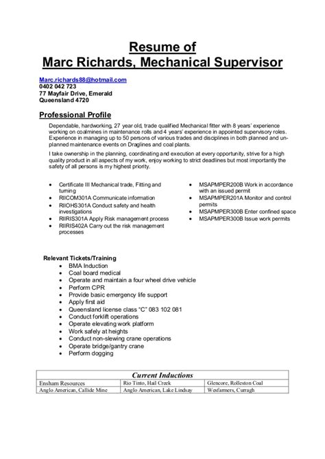maintenance supervisor sle resume mechanical supervisor resume sle 28 images sle