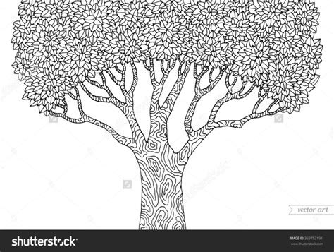 Coloring Pages Forest Tree Isolated Big Old Tree Vector Detailed Tree Coloring Pages