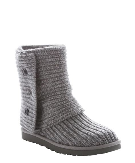 gray knit uggs ugg grey rib knit wool classic cardy boots in gray lyst