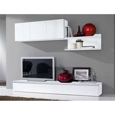 FORTINO Séjour Tv laqué blanc 240 cm   Achat / Vente