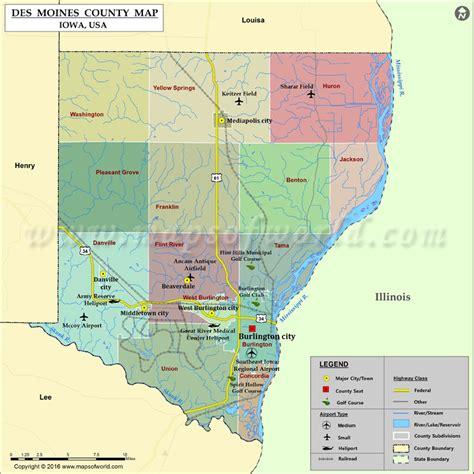 map of des moines iowa des moines county map iowa