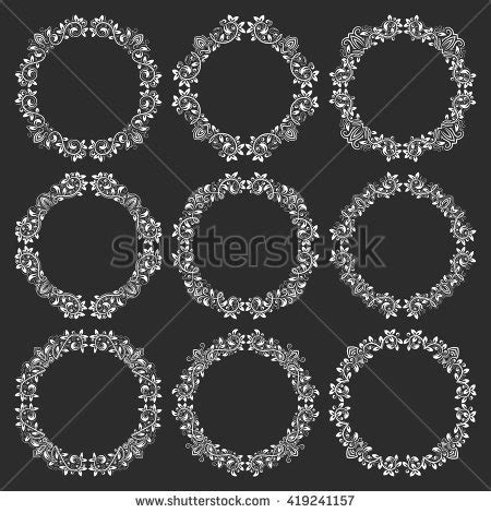 the images collection of vector round label victorian round vintage collection round decorative border frames solid stock