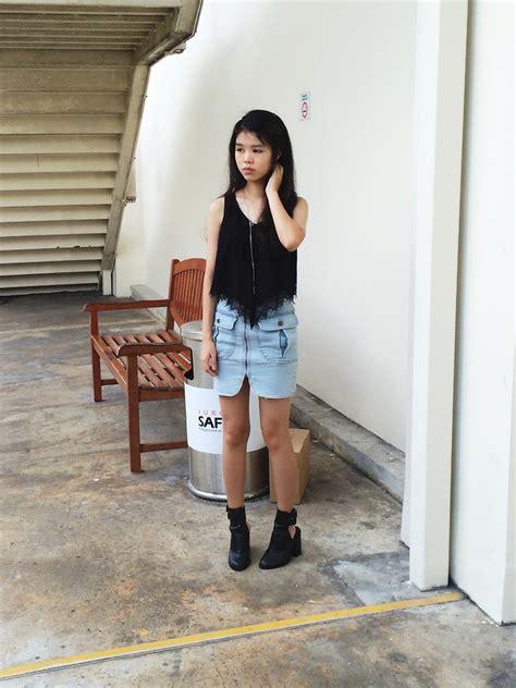 pixie t osmose lace black top scarlet room denim skirt
