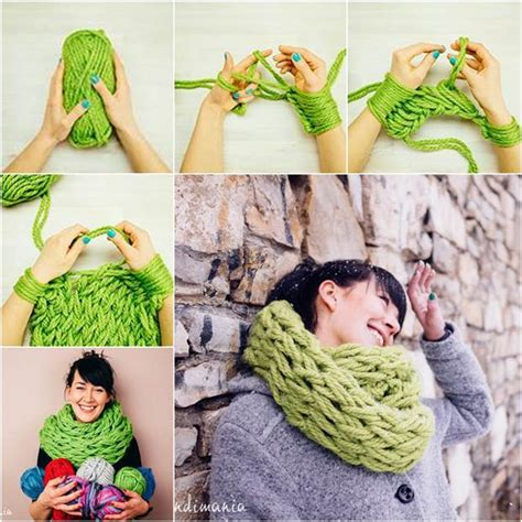 how to make a scarf without knitting how to diy easy arm knitted scarf