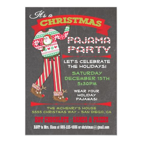 ideas for funny christmas pajama party chalkboard pajama invitations zazzle