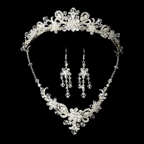 swarovski jewelry silver bridal jewelry set and tiara of swarovski