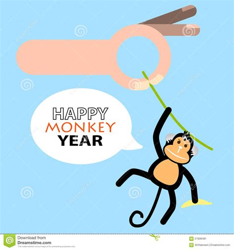 new year of monkey happy new year card 2016 year of monkey stock vector