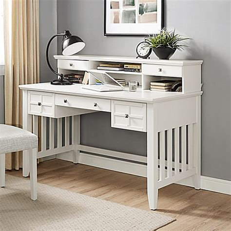 Crosley Adler Desk With Hutch In White Bed Bath Beyond White Desk With Hutch For Sale